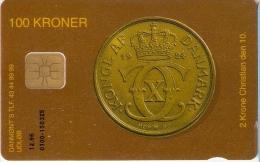 TARJETA DE DINAMARCA DE UNA MONEDA (COIN) - Sellos & Monedas