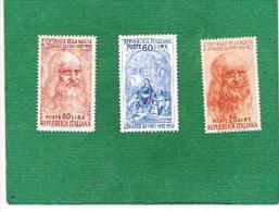 ITALIA REPUBBLICA -   UNIF. 686.688 - 1952  LEONARDO DA VINCI     - NUOVI ** (MINT) - 1946-60: Mint/hinged