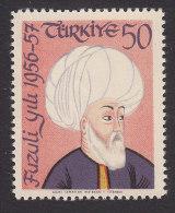 Turkey, Scott #1258, Mint Never Hinged, 400th Death Anniv. Of Fuzuli, Issued 1957 - 1921-... Republik