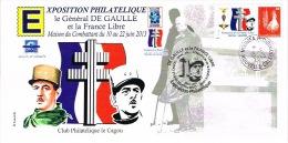 Nouvelle Caledonie Enveloppe Commemorative Timbre Personnalise Croix Loarraine General Charles De Gaulle 18/6/2013 TB - Zonder Classificatie