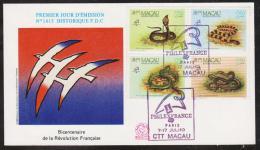 MACAU  FDC  PHILEX FRANCE 89+SERPENTS  YVERT N°589/92  Réf 4410 - 1999-... Chinese Admnistrative Region