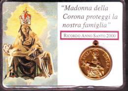 Medaglietta Madonna Della Corona Anno Santo 2000, Custodia Plastificata - Italia