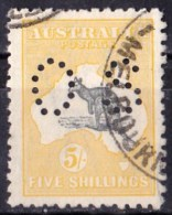 Australia 1915 Kangaroo 5 Shillings Grey & Yellow 2nd Wmk Perf OS Used - Used Stamps