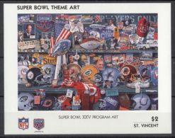 St.Vincent - 1991 Super Bowl Posters Block (25) MNH__(TH-13504) - St.Vincent (1979-...)
