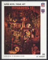 St.Vincent - 1991 Super Bowl Posters Block (6) MNH__(TH-13485) - St.Vincent (1979-...)