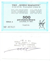 ZAGREB 500 DINARA ROBNI Bon  For FEMALE CLOTHES (HRVATSKA) 1987 G.R - Croatia