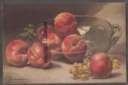 Illustrateur A-F BONNARDEL--COUPE DE FRUITS -PECHES ET RAISINS - Illustrators & Photographers