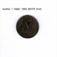 AUSTRIA    1  HELLER  1895  (KM # 2800) - Austria