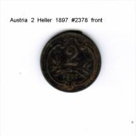 AUSTRIA    2  HELLER  1897  (KM # 2801) - Austria