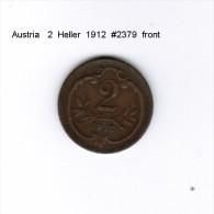 AUSTRIA    2  HELLER  1912  (KM # 2801) - Austria