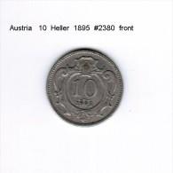AUSTRIA    10  HELLER  1895  (KM # 2802) - Austria