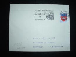 LETTRE TP BLASON ST LO 0,20F OBL.MEC. 18-?-1968 AIX EN PROVENCE (13 BOUCHES DU RHONE) + ESPERANTO - Esperanto