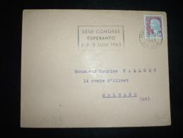 LETTRE TP MARIANNE DE DECARIS 0,25F OBL.MEC. 18-5-1963 PERPIGNAN RP (66 PYRENEES ORIENTALES) + ESPERANTO - Esperanto