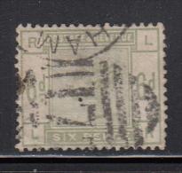 Great Britain Used Scott #105 6p Victoria, Green Position LR - Oblitérés