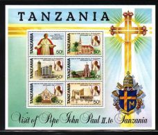 Tanzania - 1990 Pope Block MNH__(THB-885) - Tanzania (1964-...)