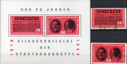 Spartakus 1966 DDR 1154/5 Plus Block 25 O 9€ Zeitung Liebknecht/ Luxemburg Bf M/s Military Bloc History Sheet Of Germany - Guerre Mondiale (Première)