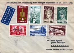 R! Saar Germany/Melbourne 1956, LP Brief, Olympischer Sonderflug (Army-Air-Force) Wien-Nordpol-Melbourne Am 16.Nov.1956 - Saargebiet