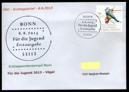 28361) BRD - 3 FDC Ersttagsbriefe Michel 3023 / 3025 - ESST 53113 BONN - Singvögel, Jugendmarken 13 - Sperlingsvögel & Singvögel