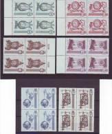 1150d: Österreich 1970 Serie Alte Uhren, Old Clocks, FDCs Plus Blocs Of 4 ** (3 Scans) - Clocks