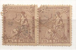 Año 1873 Edifil 135 25c Pareja Sellos Alegoria Matasellos Anulado Con Tinta - Used Stamps
