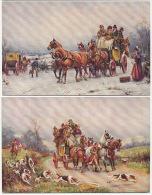 Attelage Diligence 2 Cartes Chasse A Courre Par Sanderson Wells - Postcards