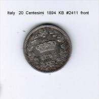 ITALY    20  CENTESIMI  1894 KB (KM # 28.1) - 1861-1946 : Kingdom