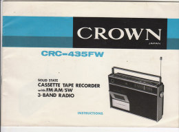 C1144 - LIBRETTO ISTRUZIONI APPARECCHIO RADIO - CASSETTE TAPE RECORDER CRC-435FW CROWN Japan - Libri & Schemi