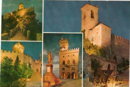 Saint Marin - CP Tours - Canons - YT 852 - 853 Arbalétriers - 867 Casque - 902 Femme - Peinture Franco Gentilini - Saint-Marin