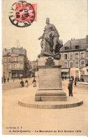 Saint-Quentin (Aisne)-1909-Le Monument Du Huit Octobre 1870-Tram-Charcuterie-Animée-Carte Couleur Toilée - Saint Quentin