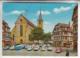 ALLEMAGNE Mosbach - Marktplatz Place Du Marché Nombreuses Automobiles AMI 6 Citroen Volkswagen CPSM GF 1975 N° 95 RARE ? - Mosbach