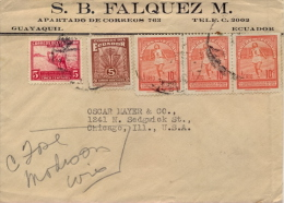 Ecuador 1940? Cover By Air Mail To USA With 3 X 10 Cent. Bolivarian Olympiade Woman Runner + 2 X 5 Cent. Postage Dues - Atletica