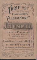 REVUE - Etablissement ALEXANDRE - J. HUMMEL - PARIS XXe - Spécialité De Machines Pour Charcutiers-bouchers - Livres, BD, Revues