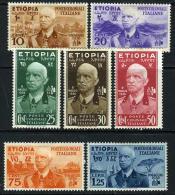 Ethiopia Italian Occupation N1-7 Mint Hinged Postal Set From 1936 - Ethiopia