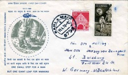 India/Germany 1969, First Day Man On The Moon 2 Fach Frankiert