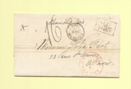 Lettre De New York 4 Mars 1857 - Voie Anglaise - Marque D Echange 1f60 - Destination Paris - Marcophilie (Lettres)