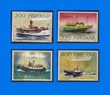 FO 1992-0001, Mail Ships, Complete Set Of 4 MNH Stamps - Faroe Islands