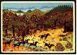 VilboCard  Villeroy & Boch Keramik-Postkarte A 23/1 - 82 Jagd Hunt La Chas - Kachel - Fliese - Malerei & Gemälde