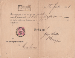 Formulaire De Service Pour Abonnement Aux Journaux Avec Taxe 10 Pfennig Oblitérée Avec Timbre STRASSBURG N 2 échoppé - R - Elsass-Lothringen