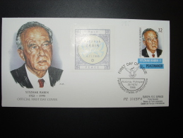 FEDERATED STATES OF MICRONESIA YITZHAK RABIN PEACEMAKER ISRAEL COLOMBE CONSEIL EUROPE FDC TIRAGE LIMITE 15ex. - Micronesia