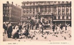LYON - Place Des TERREAUX... Les Pigeons - Prise De Vue Originale, Belle Animation - Circulée, Petit Format, 2 Scans - Autres