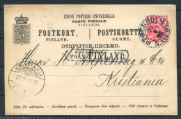1896 Sweden Finland Norway Stockholm Kristiania Oslo Fran Finland Paquebot Stationery Postcard