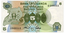 UGANDA 5 SHILLINGS ND(1982) Pick 15 Unc - Oeganda