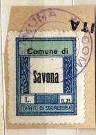 MARCA DA BOLLO  COMUNALE /REVENUE  -  COMUNE DI SAVONA LIRE 0,25 - Revenue Stamps