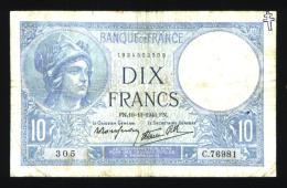 """10 Francs Minerve Avec Tampon """"Croix De Lorraine"""" - 1871-1952 Circulated During XXth"""