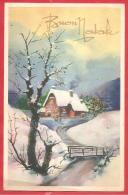 CARTOLINA VIAGGIATA ITALIA - BUON NATALE - Paesaggio Naif - Annullo TORINO  24 - 12 - 1937 - Natale