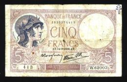 """5 Francs Violet Avec Tampon """"Croix De Lorraine"""" - 1871-1952 Gedurende De XXste In Omloop"""