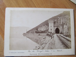 A2 - PHOTO FOTO  ALBUMINE LAC DU BOURGET ENTREE D UN TUNNEL ANIMEE  / DEMAY PHOT AIX LES BAINS - Anciennes (Av. 1900)