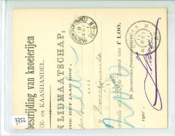 DEEL LIDMAATSCHAPSKAART Uit 1901 Van LEIDEN KLEINRONDSTEMPEL HAZERSWOUDE (RIJND:) (7752) - Periode 1891-1948 (Wilhelmina)