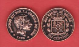 VERY RARE!!! Alfonso XII 1 Céntimos 1.878 Cobre KM#Pn13 SC/UNC T-DL-10.548 COPY Cana. - [ 1] …-1931 : Royaume