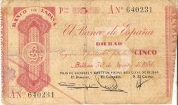 BILLETE DE ESPAÑA  5 PTAS DEL BANCO DE BILBAO AÑO 1936 SERIE A (BANKNOTE) CAJA AHORROS MONTE PIEDAD - [ 3] 1936-1975 : Régimen De Franco